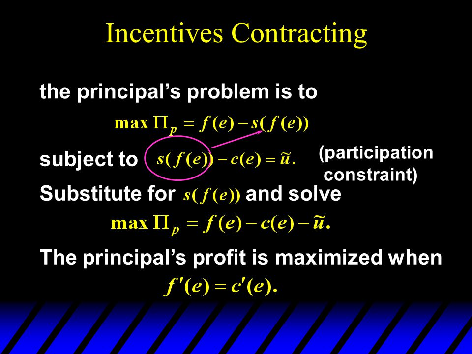 Incentives Contracting the principals problem is to subject to (participation constraint) The principals profit is maximized when Substitute for and solve