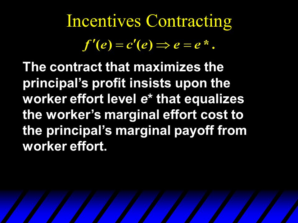 Incentives Contracting The contract that maximizes the principals profit insists upon the worker effort level e* that equalizes the workers marginal effort cost to the principals marginal payoff from worker effort.