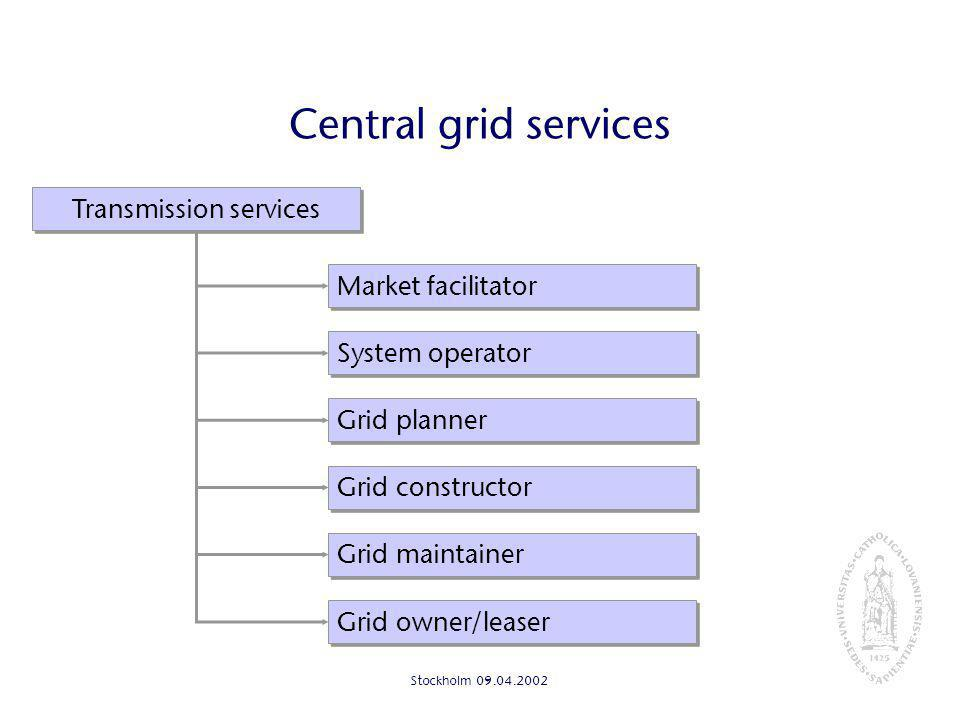Stockholm Central grid services Grid owner/leaser Transmission services Grid maintainer Grid constructor System operator Market facilitator Grid planner