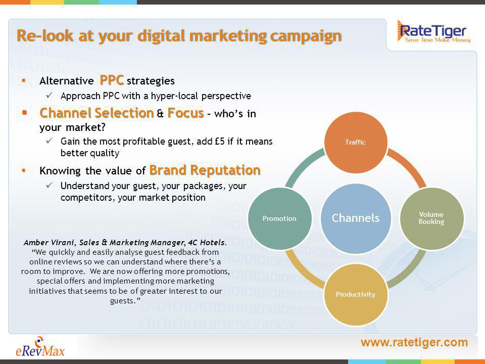 www.ratetiger.com Re-look at your digital marketing campaignRe-look at your digital marketing campaign PPC Alternative PPC strategies Approach PPC with a hyper-local perspective Channel Selection Focus Channel Selection & Focus – whos in your market.