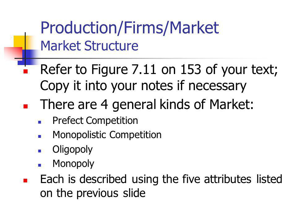 Production/Firms/Market Market Structure Refer to Figure 7.11 on 153 of your text; Copy it into your notes if necessary There are 4 general kinds of M