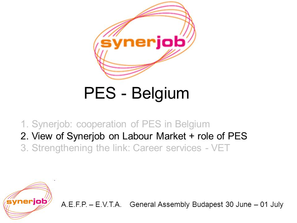 A.E.F.P. – E.V.T.A. General Assembly Budapest 30 June – 01 July PES - Belgium 1.Synerjob: cooperation of PES in Belgium 2.View of Synerjob on Labour M