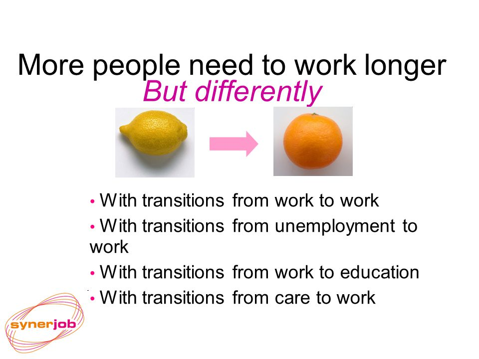 More people need to work longer With transitions from work to work With transitions from unemployment to work With transitions from work to education With transitions from care to work But differently