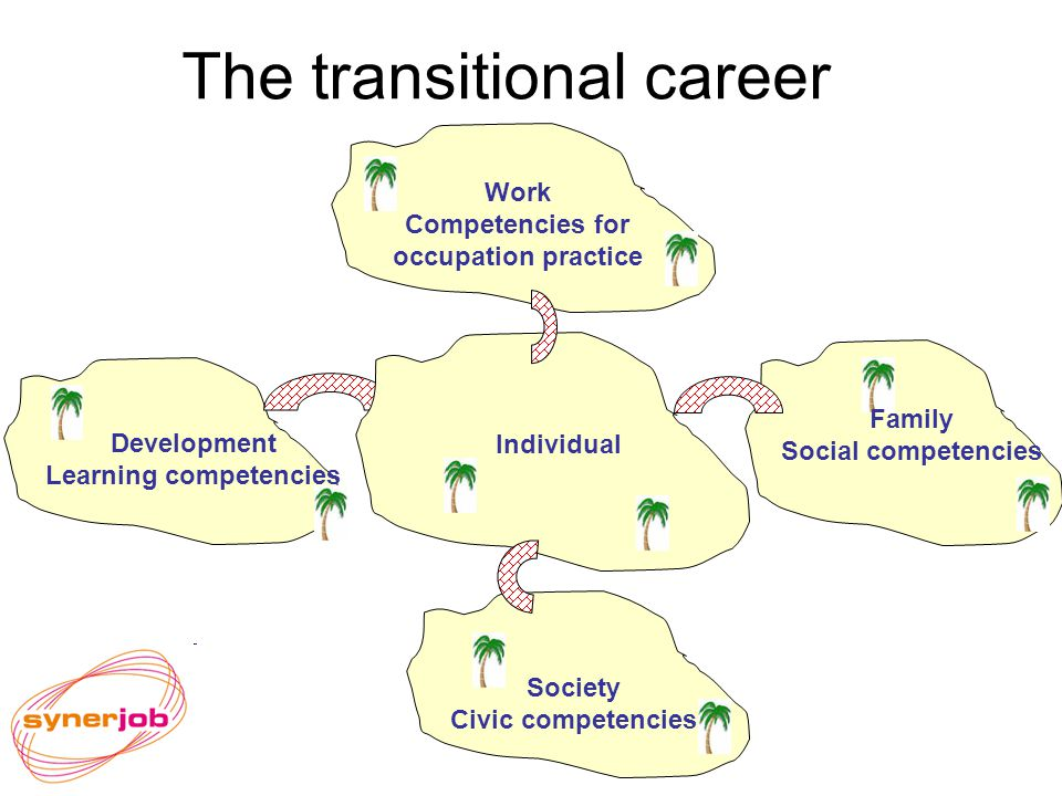 The transitional career Work Competencies for occupation practice Family Social competencies Society Civic competencies Development Learning competencies Individual