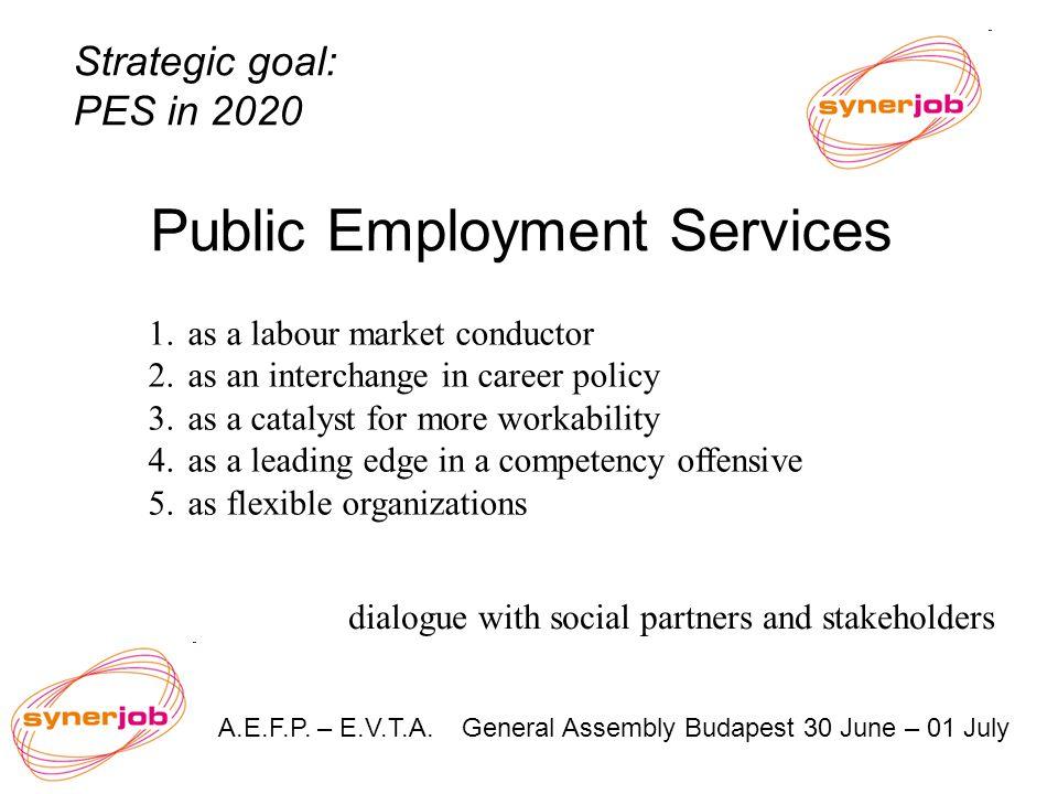 Strategic goal: PES in 2020 A.E.F.P. – E.V.T.A. General Assembly Budapest 30 June – 01 July Public Employment Services 1.as a labour market conductor