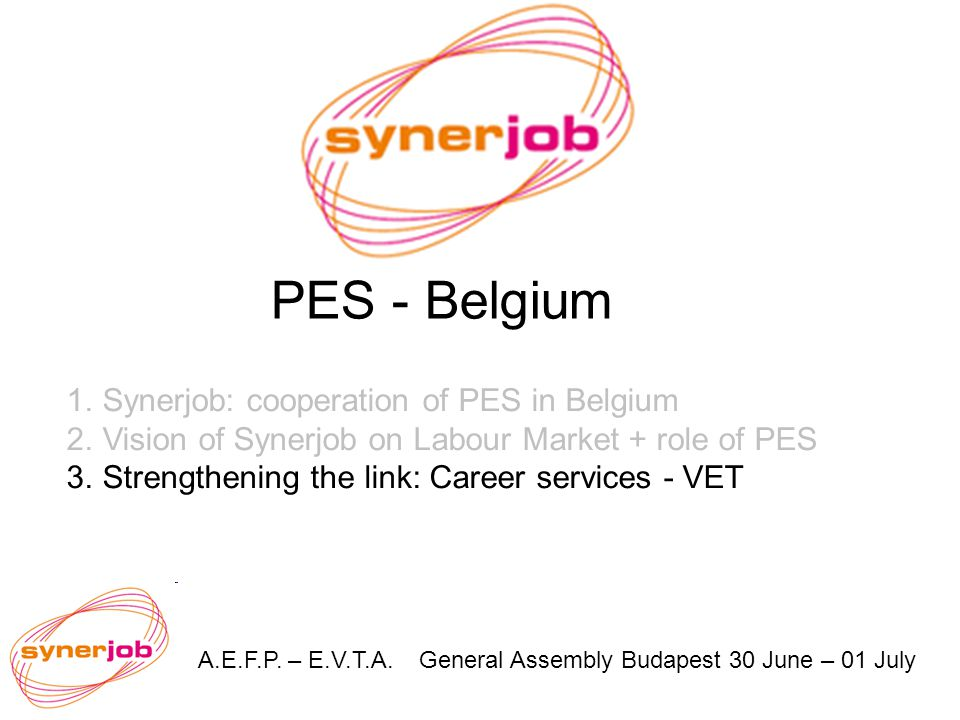 A.E.F.P. – E.V.T.A. General Assembly Budapest 30 June – 01 July PES - Belgium 1.Synerjob: cooperation of PES in Belgium 2.Vision of Synerjob on Labour