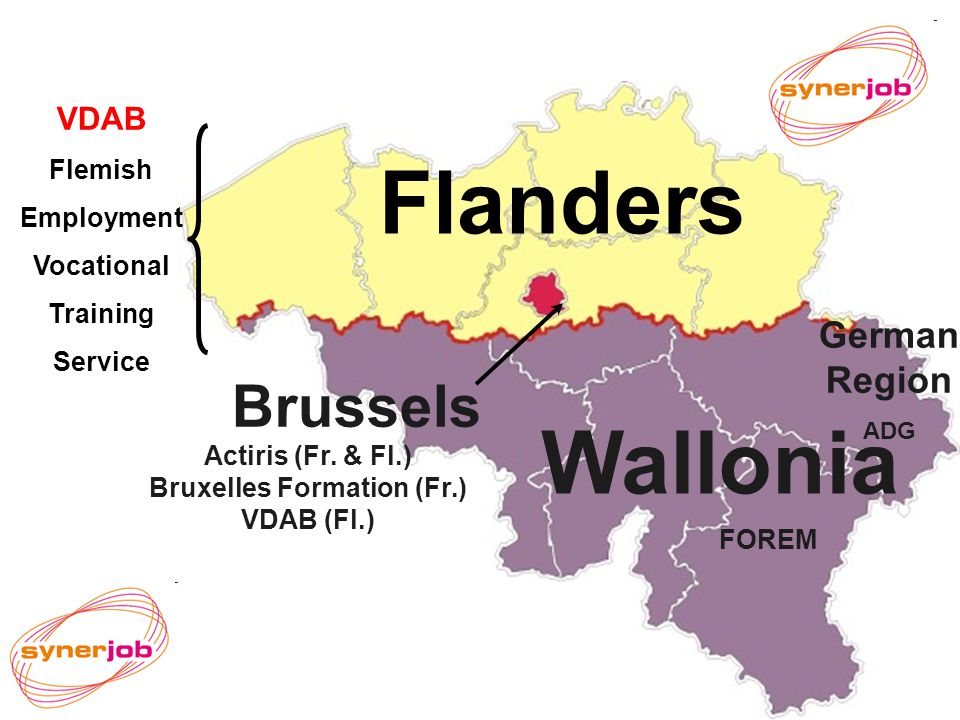 VDAB Flanders Wallonia Brussels VDAB Flemish Employment Vocational Training Service FOREM Actiris (Fr.