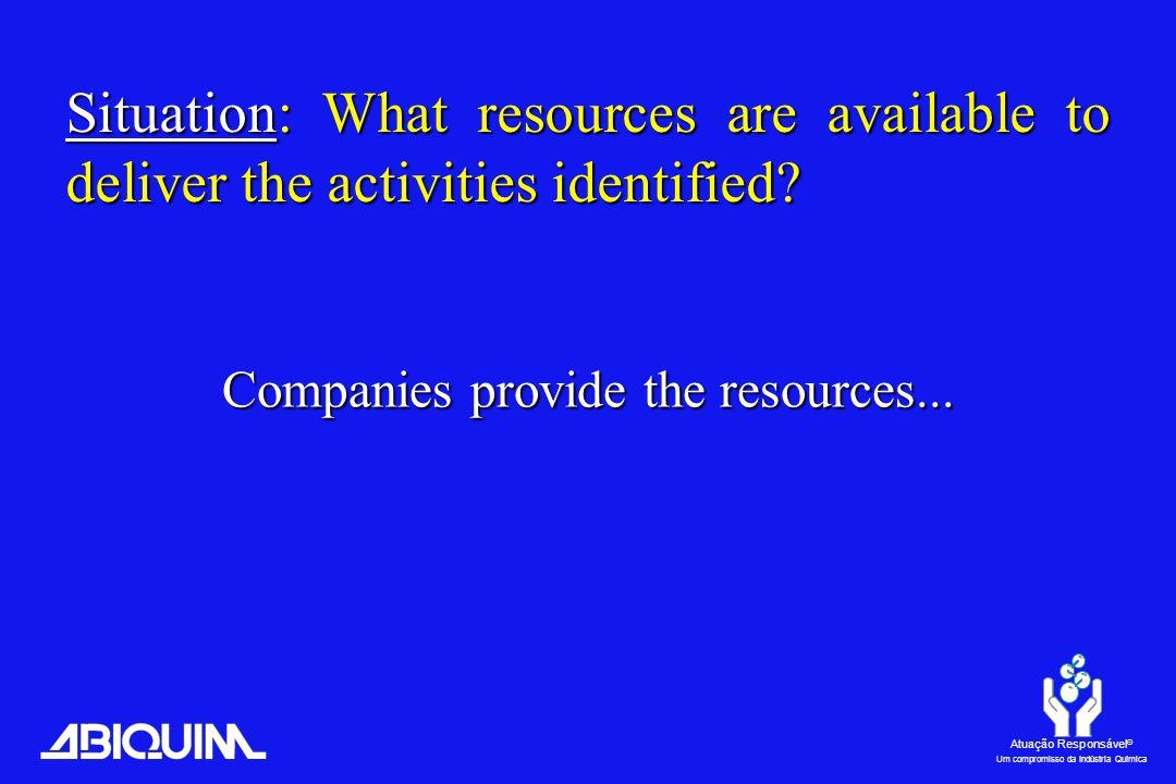 Atuação Responsável ® Um compromisso da Indústria Química Companies provide the resources...