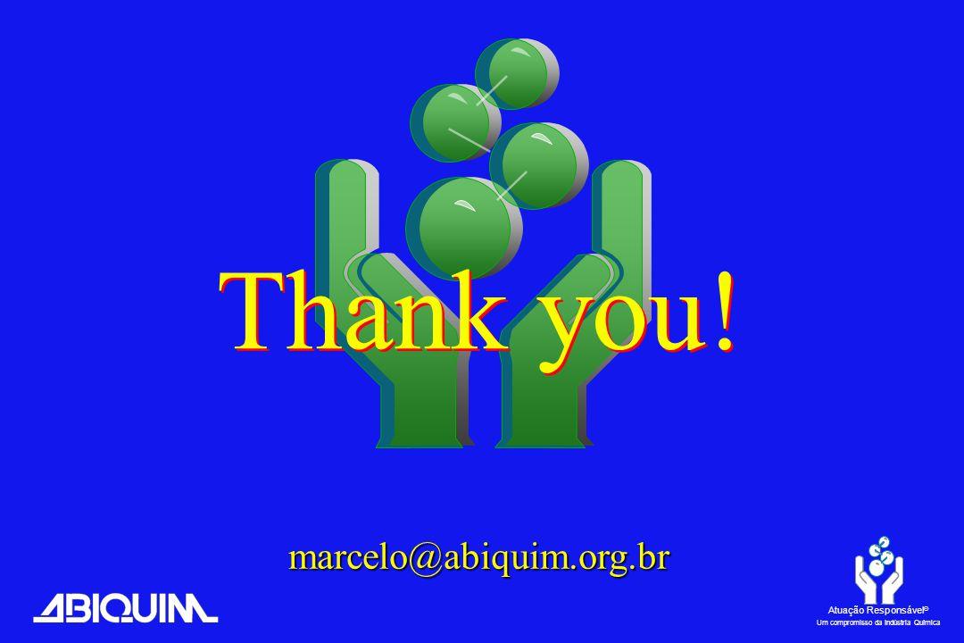Atuação Responsável ® Um compromisso da Indústria Química Thank you! marcelo@abiquim.org.br