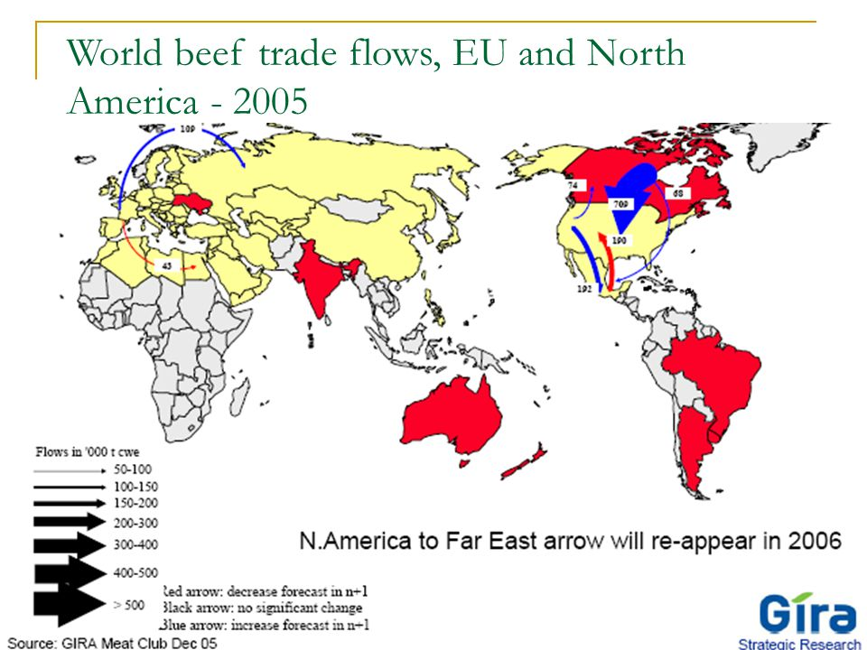 12 World beef trade flows, EU and North America - 2005