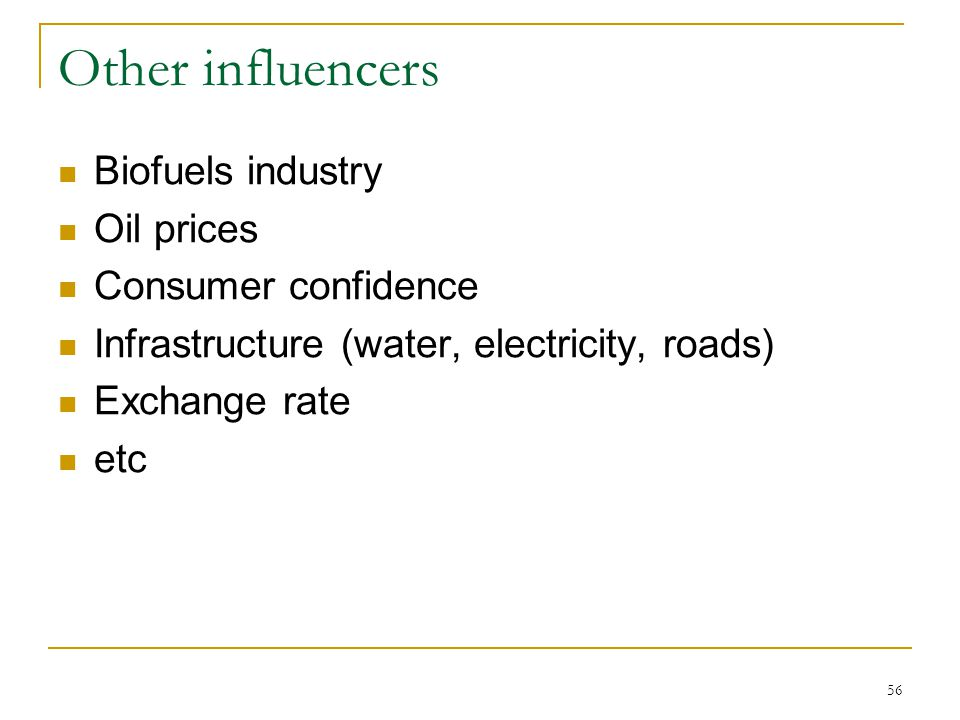 56 Other influencers Biofuels industry Oil prices Consumer confidence Infrastructure (water, electricity, roads) Exchange rate etc