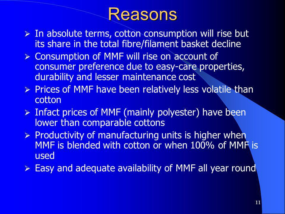 11 Reasons In absolute terms, cotton consumption will rise but its share in the total fibre/filament basket decline Consumption of MMF will rise on account of consumer preference due to easy-care properties, durability and lesser maintenance cost Prices of MMF have been relatively less volatile than cotton Infact prices of MMF (mainly polyester) have been lower than comparable cottons Productivity of manufacturing units is higher when MMF is blended with cotton or when 100% of MMF is used Easy and adequate availability of MMF all year round