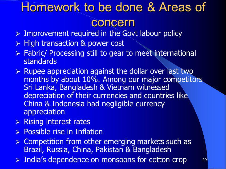 29 Homework to be done & Areas of concern Improvement required in the Govt labour policy High transaction & power cost Fabric/ Processing still to gea