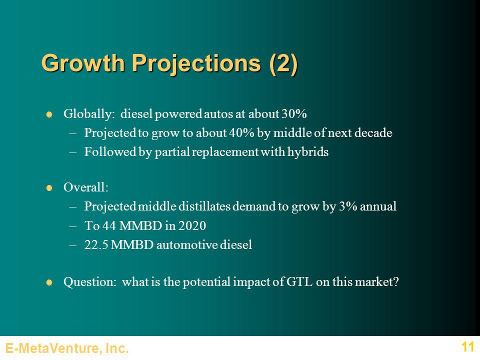 E-MetaVenture, Inc. 11 Growth Projections (2) Globally: diesel powered autos at about 30% –Projected to grow to about 40% by middle of next decade –Fo