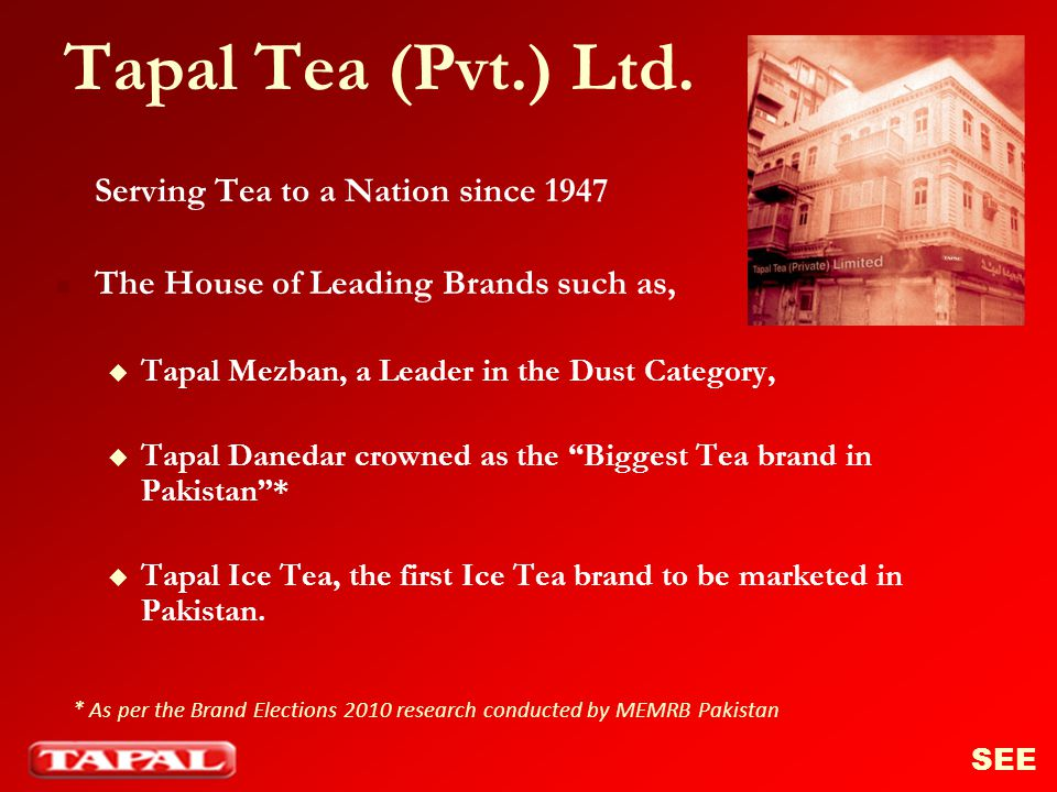 Tapal Danedar …A Journey from Soft Pack to Hard Pack Available in Jars, Pouches, Teabags and Soft packs Hard Pack format launched in August 2008 SEE