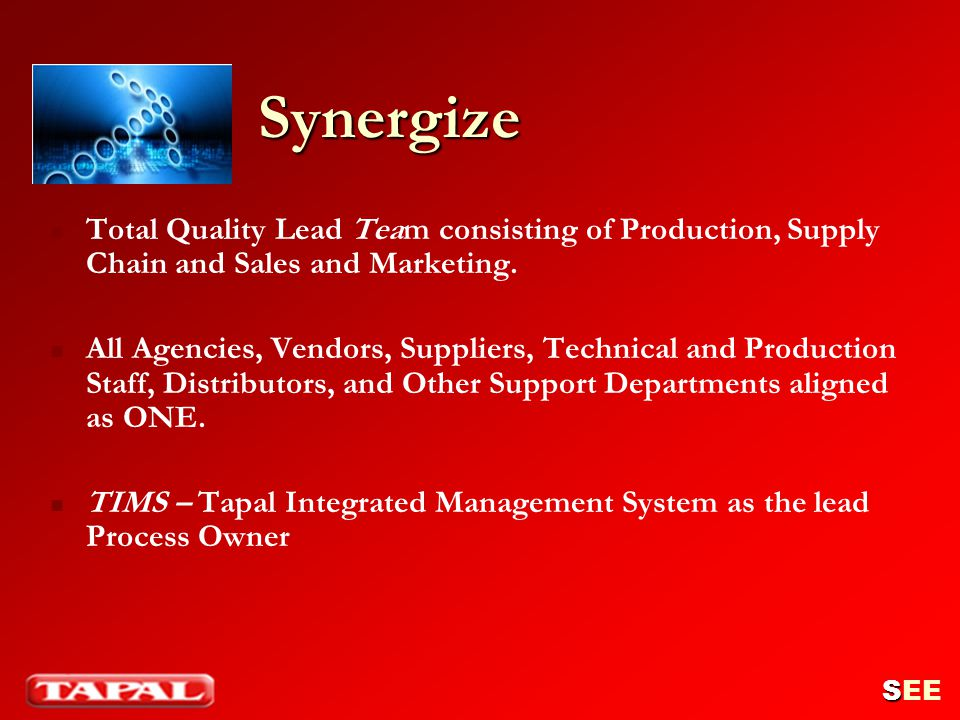 Synergize Total Quality Lead Team consisting of Production, Supply Chain and Sales and Marketing. All Agencies, Vendors, Suppliers, Technical and Prod