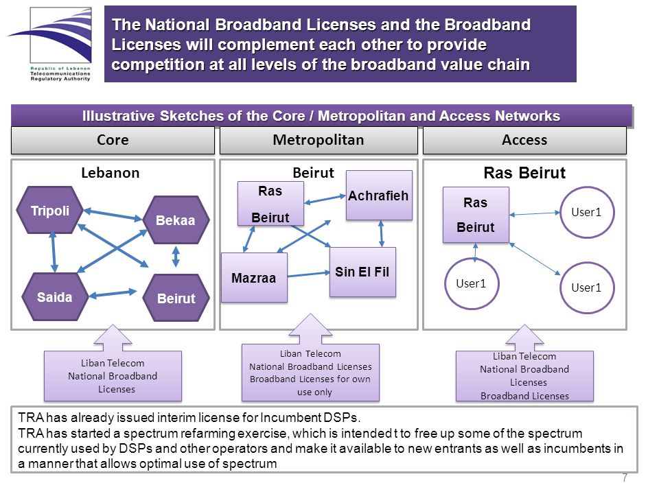 7 Illustrative Sketches of the Core / Metropolitan and Access Networks The National Broadband Licenses and the Broadband Licenses will complement each other to provide competition at all levels of the broadband value chain Beirut Core TRA has already issued interim license for Incumbent DSPs.