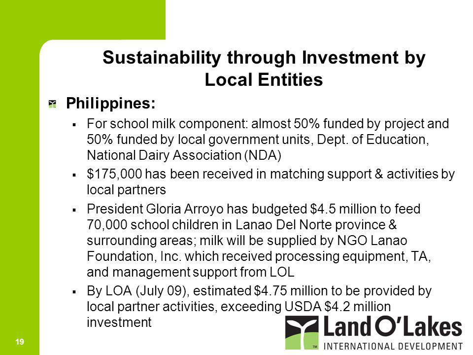 19 Philippines: For school milk component: almost 50% funded by project and 50% funded by local government units, Dept. of Education, National Dairy A