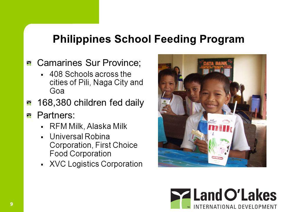 9 Camarines Sur Province; 408 Schools across the cities of Pili, Naga City and Goa 168,380 children fed daily Partners: RFM Milk, Alaska Milk Universa