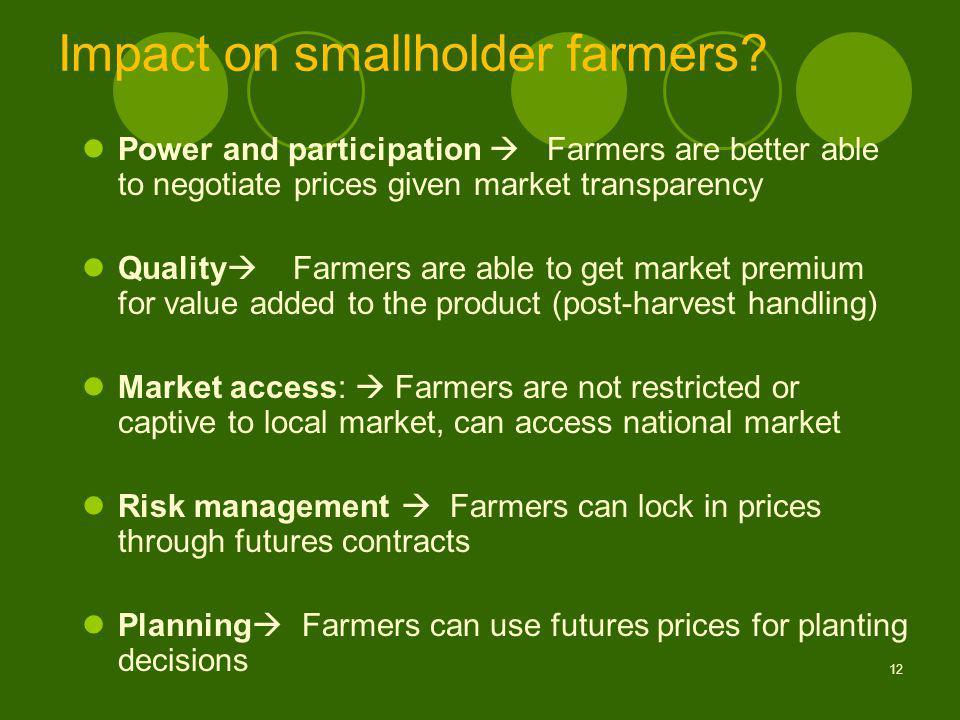 12 Impact on smallholder farmers.