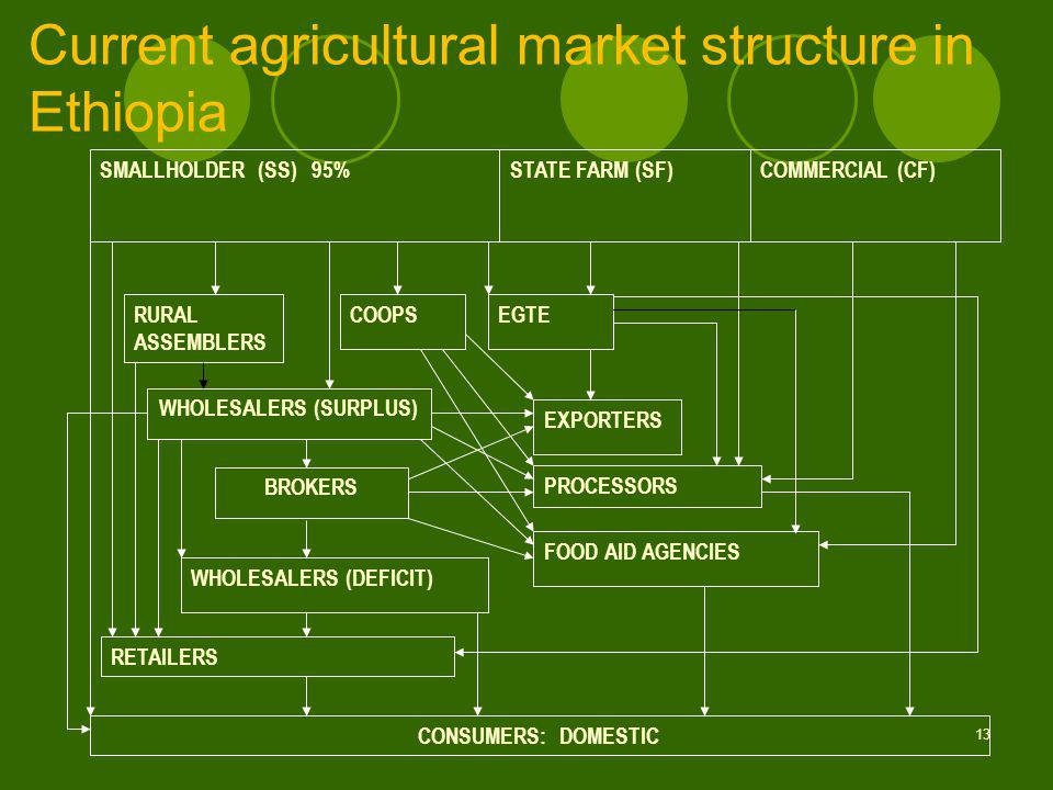 13 Current agricultural market structure in Ethiopia SMALLHOLDER (SS) 95% STATE FARM (SF)COMMERCIAL (CF) CONSUMERS: DOMESTIC RETAILERS WHOLESALERS (DEFICIT) BROKERS WHOLESALERS (SURPLUS) RURAL ASSEMBLERS COOPSEGTE EXPORTERS PROCESSORS FOOD AID AGENCIES