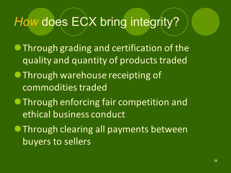 How does ECX bring integrity.