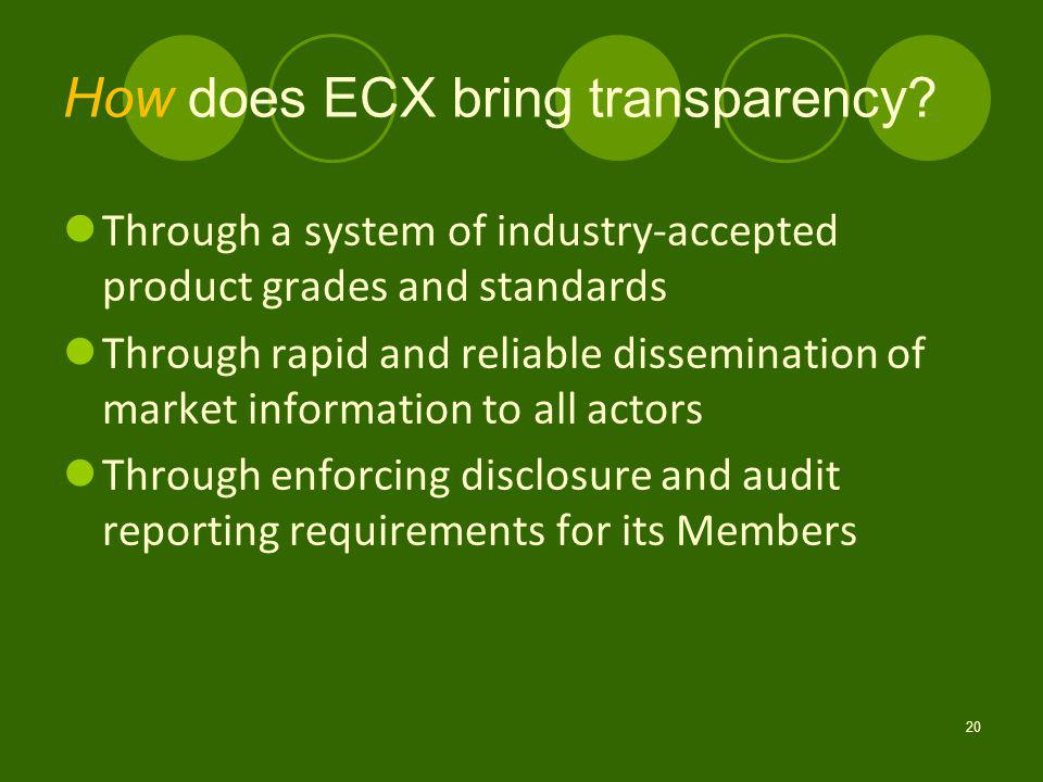 How does ECX bring transparency.