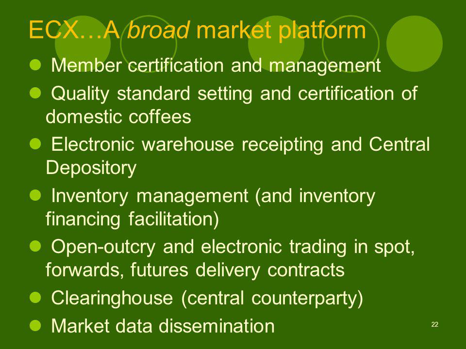 ECX…A broad market platform Member certification and management Quality standard setting and certification of domestic coffees Electronic warehouse receipting and Central Depository Inventory management (and inventory financing facilitation) Open-outcry and electronic trading in spot, forwards, futures delivery contracts Clearinghouse (central counterparty) Market data dissemination 22