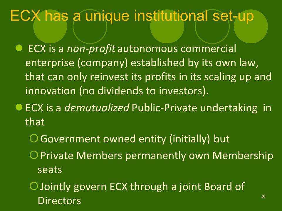 ECX has a unique institutional set-up 30 ECX is a non-profit autonomous commercial enterprise (company) established by its own law, that can only reinvest its profits in its scaling up and innovation (no dividends to investors).