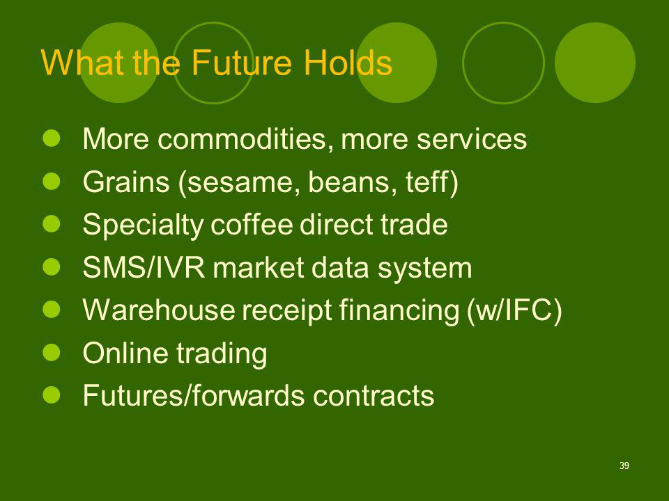 What the Future Holds More commodities, more services Grains (sesame, beans, teff) Specialty coffee direct trade SMS/IVR market data system Warehouse receipt financing (w/IFC) Online trading Futures/forwards contracts 39
