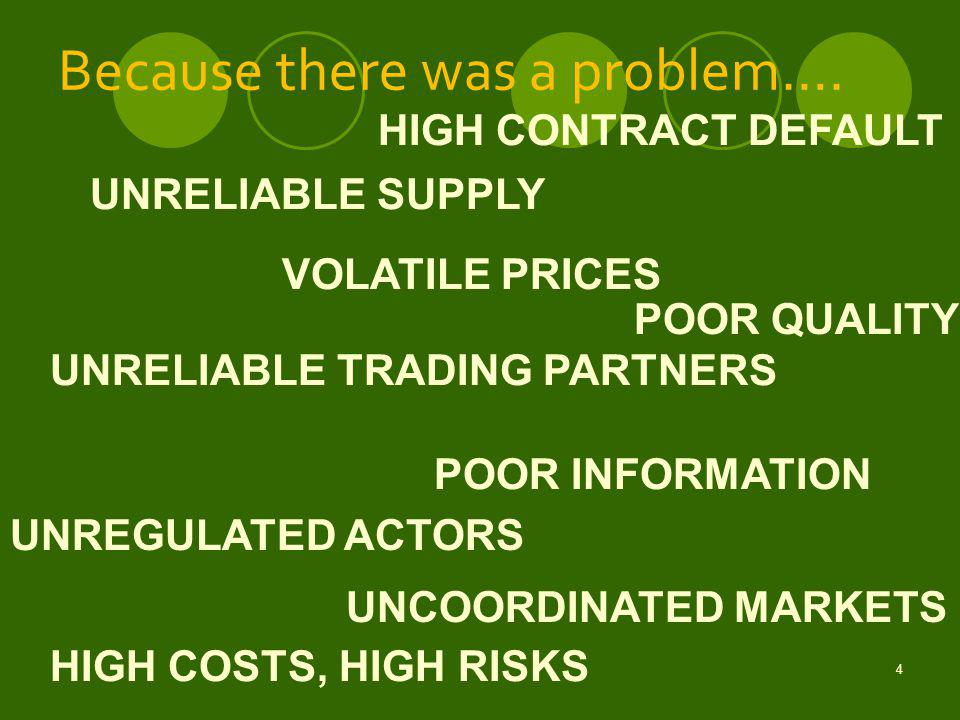 4 POOR QUALITY VOLATILE PRICES HIGH CONTRACT DEFAULT UNRELIABLE TRADING PARTNERS POOR INFORMATION UNREGULATED ACTORS UNCOORDINATED MARKETS UNRELIABLE SUPPLY HIGH COSTS, HIGH RISKS Because there was a problem….