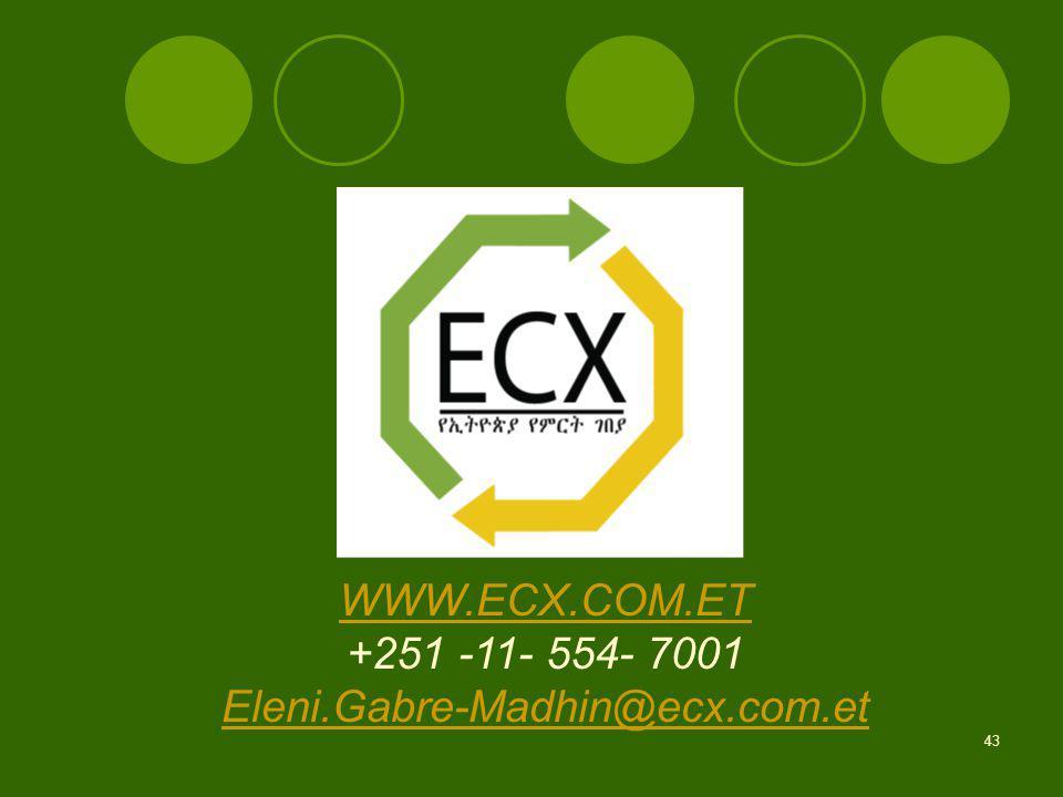 43 WWW.ECX.COM.ET +251 -11- 554- 7001 Eleni.Gabre-Madhin@ecx.com.et