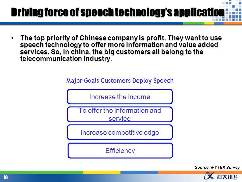 18 Driving force of speech technologys application The top priority of northern Americans company is to satisfy the customers need, to help the customer find the information and service that they need as quick as possible.