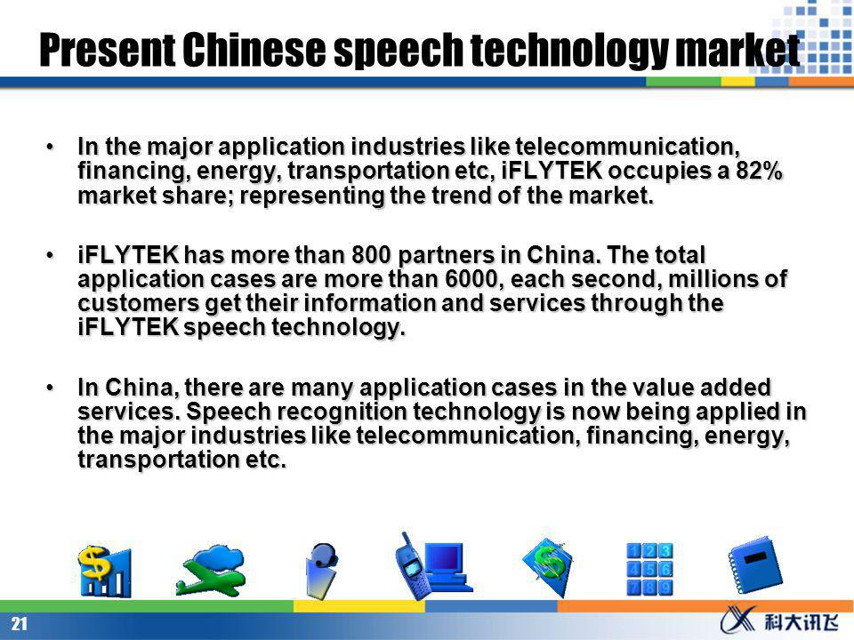 20 Driving force of speech technologys application The developing speech technology is driven by some actual reasons.
