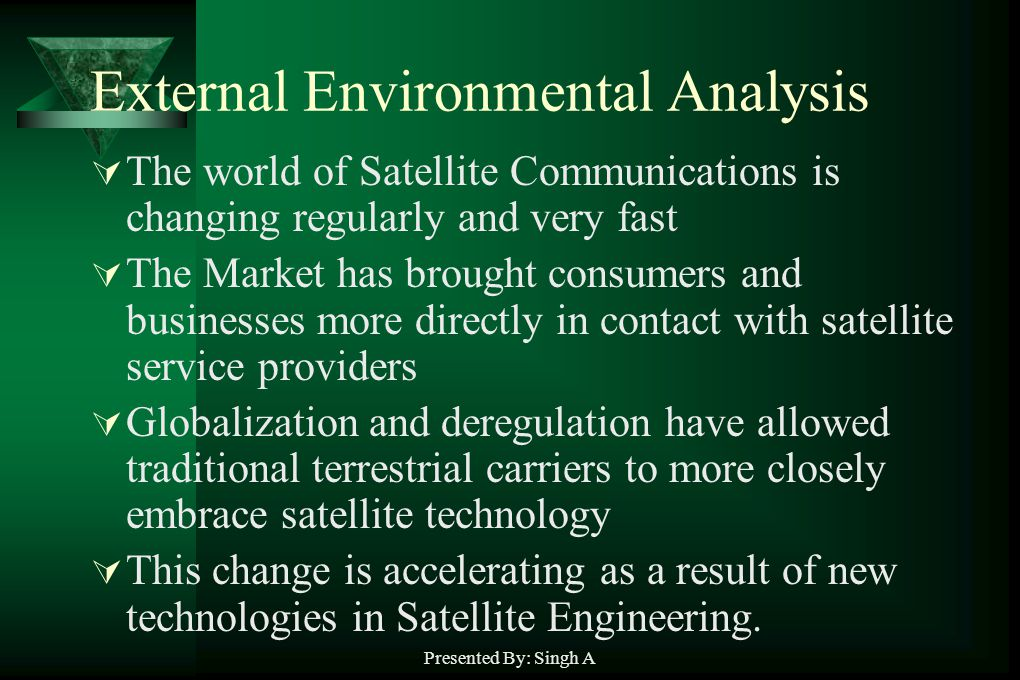 Presented By: Singh A External Environmental Analysis The world of Satellite Communications is changing regularly and very fast The Market has brought consumers and businesses more directly in contact with satellite service providers Globalization and deregulation have allowed traditional terrestrial carriers to more closely embrace satellite technology This change is accelerating as a result of new technologies in Satellite Engineering.
