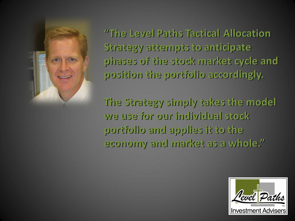 The Level Paths Tactical Allocation Strategy attempts to anticipate phases of the stock market cycle and position the portfolio accordingly.