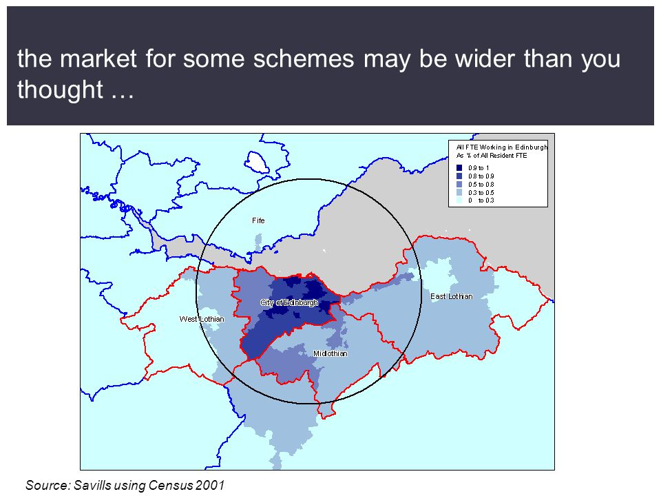the market for some schemes may be wider than you thought … Source: Savills using Census 2001