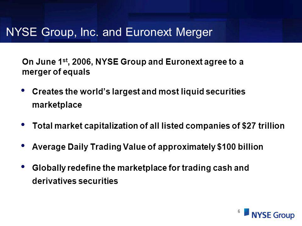 6 Creates the worlds largest and most liquid securities marketplace Total market capitalization of all listed companies of $27 trillion Average Daily Trading Value of approximately $100 billion Globally redefine the marketplace for trading cash and derivatives securities NYSE Group, Inc.