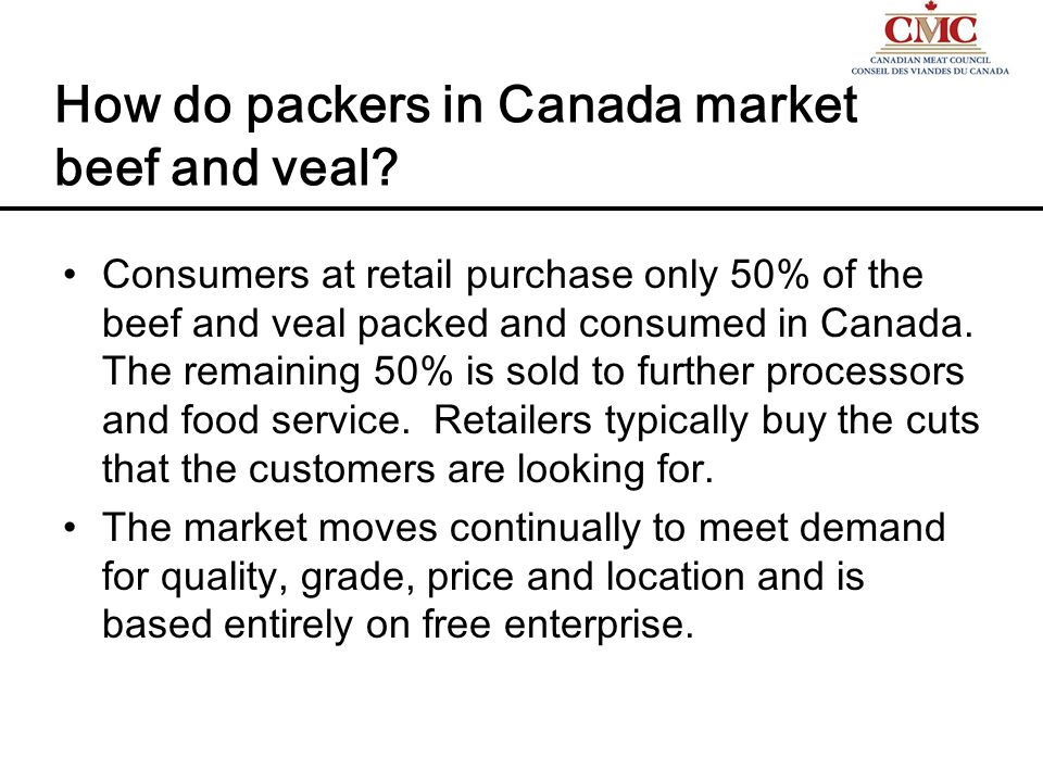 How do packers in Canada market beef and veal.