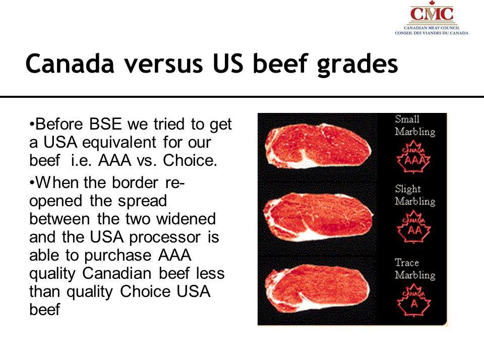 Canada versus US beef grades Before BSE we tried to get a USA equivalent for our beef i.e.