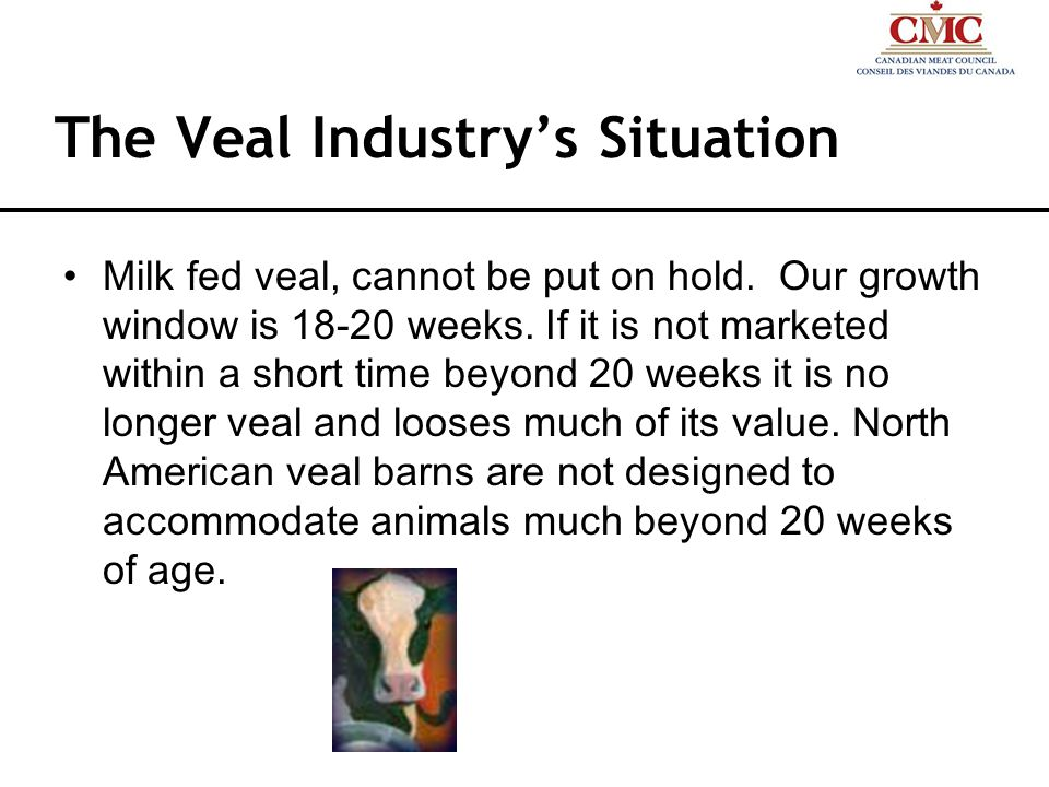 The Veal Industrys Situation Milk fed veal, cannot be put on hold.