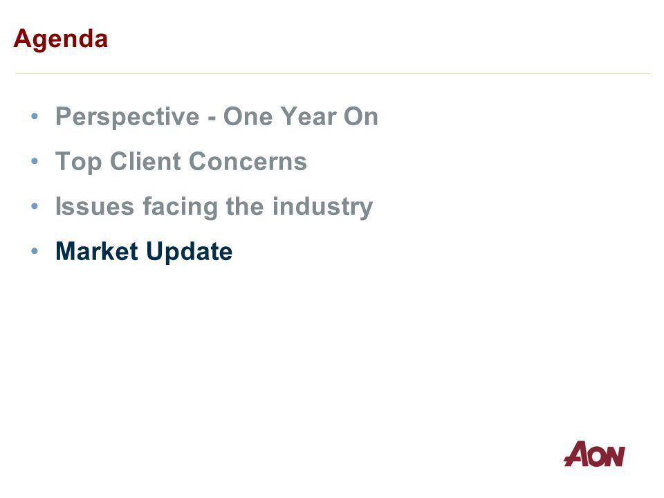 Perspective - One Year On Top Client Concerns Issues facing the industry Market Update Agenda
