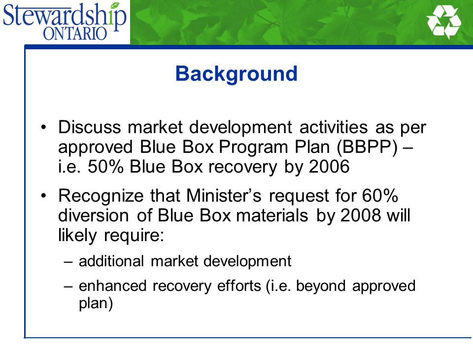 Background Discuss market development activities as per approved Blue Box Program Plan (BBPP) – i.e. 50% Blue Box recovery by 2006 Recognize that Mini