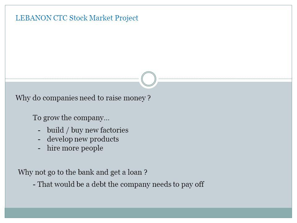 LEBANON CTC Stock Market Project Why do companies need to raise money .