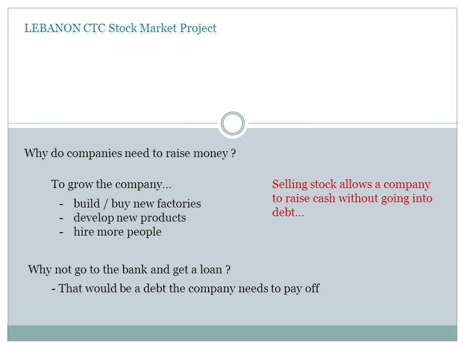 LEBANON CTC Stock Market Project Not all companies can issue stock.