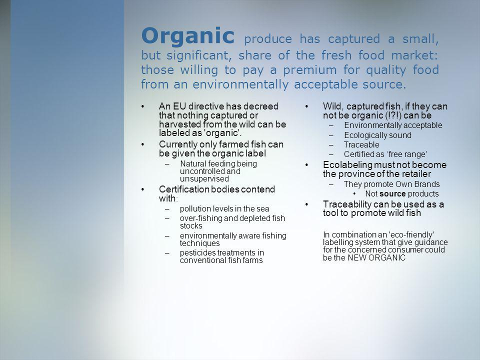Organic produce has captured a small, but significant, share of the fresh food market: those willing to pay a premium for quality food from an environmentally acceptable source.