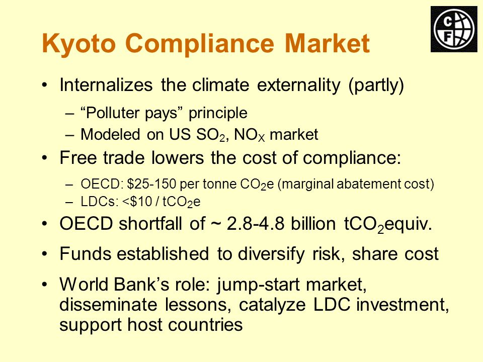 World Bank Carbon Funds Industrialized Governments and Companies Developing Countries and Companies Carbon Fund Carbon Fund $ $ Technology Finance $ $ Technology Finance CO Equivalent2 Emission Reductions CO Equivalent2 Emission Reductions