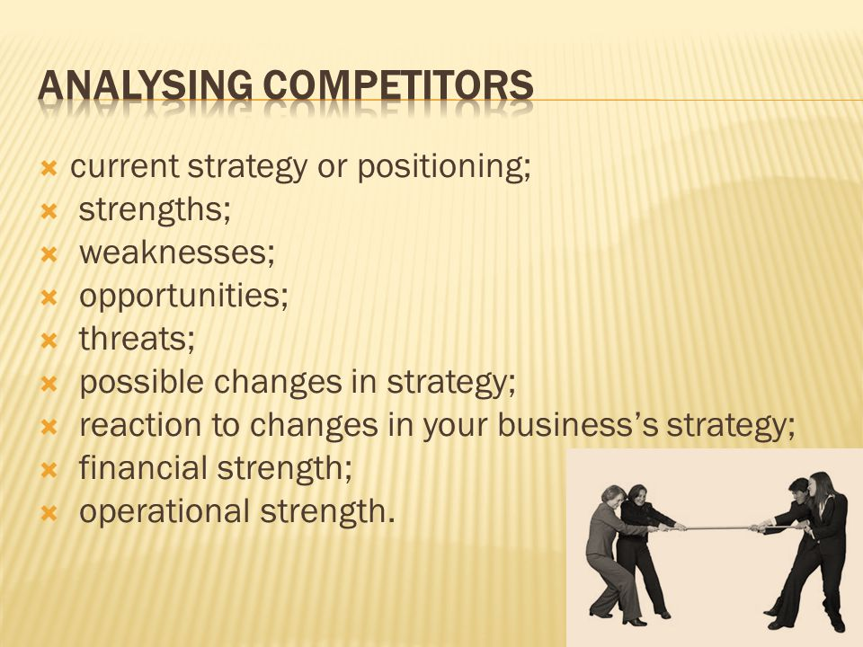 current strategy or positioning; strengths; weaknesses; opportunities; threats; possible changes in strategy; reaction to changes in your businesss st