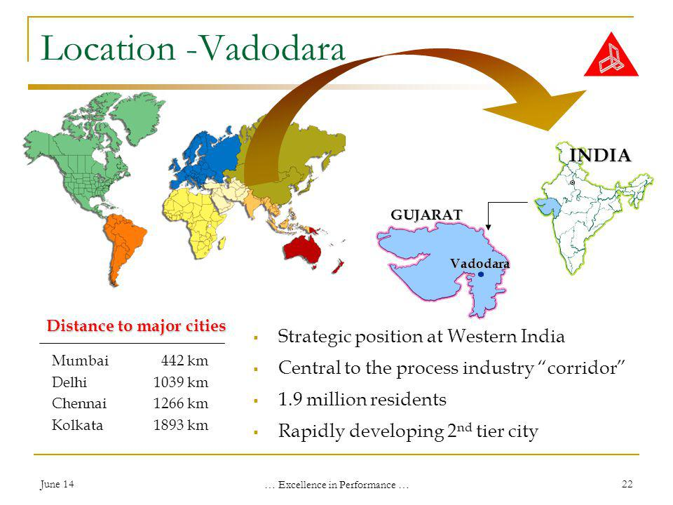 June 14 … Excellence in Performance … 22 Location -Vadodara Strategic position at Western India Central to the process industry corridor 1.9 million residents Rapidly developing 2 nd tier city Mumbai 442 km Delhi1039 km Chennai1266 km Kolkata1893 km Distance to major cities Vadodara GUJARAT INDIA