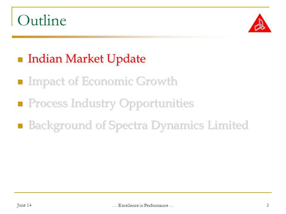 June 14 … Excellence in Performance … 3 Outline Indian Market Update Indian Market Update Impact of Economic Growth Impact of Economic Growth Process Industry Opportunities Process Industry Opportunities Background of Spectra Dynamics Limited Background of Spectra Dynamics Limited